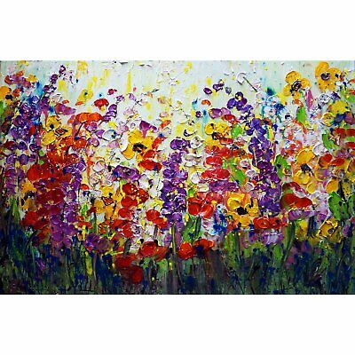 SUMMER RHAPSODY Flowers Oil Painting impasto textured colorful landscape Art