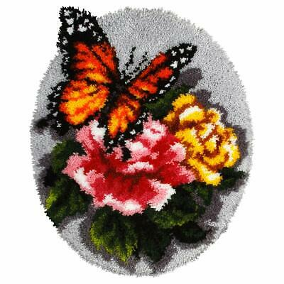 Floral Butterfly Latch Hook Kit Rug Making Kit  Orchidea, 50x74cm Printed canvas