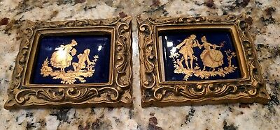 Pair of Vintage French Styled Porcelain Cobalt Pictures with Frame