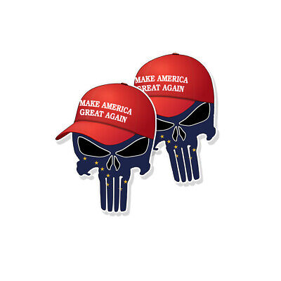 "TRUMP PUNISHER STICKERS Alaska State Flag MAGA Hat Decals - 3"" tall 2-pack"