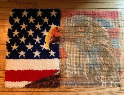 "Vintage Mary Maxim Rug Kit American Eagle 27"" x 40"" canvas rug yarn hooks 1993"