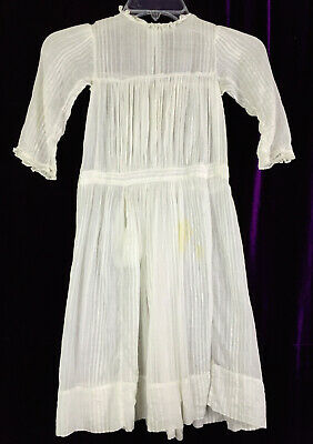 C 1900 Child Dress Gauze Lightweight Cotton Edwardian Doll Antique Victorian