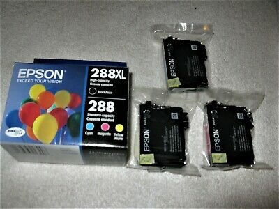 3-PACK Epson GENUINE 288 Color Ink EXPRESSION Yellow Cyan Magenta NEW SEALED