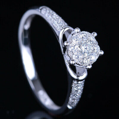 Cluster 14K White Gold Round Pave 0.3Ct Diamond Halo Bridal Engagement Ring