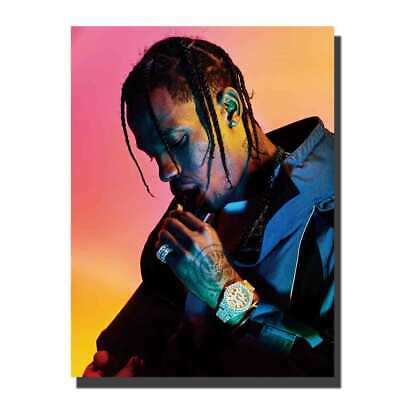 c5e608aca284 V-162 Travis Scott Hip Hop Rap Music Singer Star Poster Canvas room decor  24x36