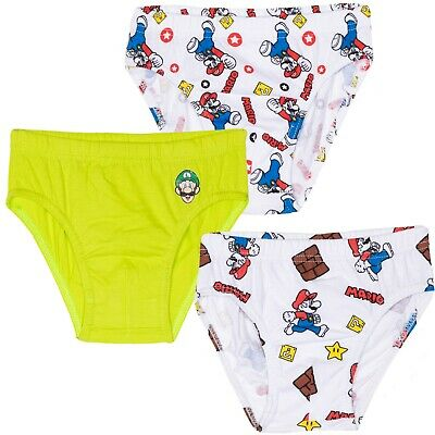 Supe Mario Bros Boys Briefs Underwear Set 3-Pack Knickers Pants Boxers 3-10 yrs