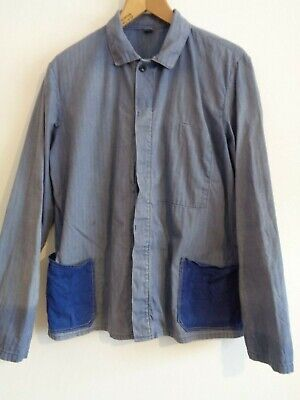 Vtg French sun faded cotton indigo blue hobo two tone work chore worker jacket