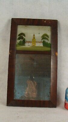 Antique Primitive 1840 Reverse Painted Building Mahogany Wall Mirror