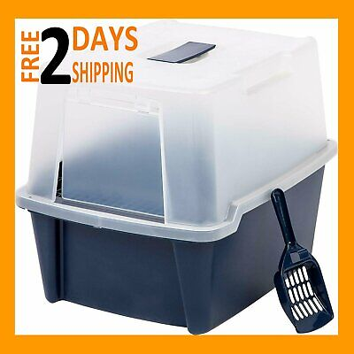 Clean Pet Cat Kitty Closed Top Regular Litter Box with Shield and Scoop Plastic