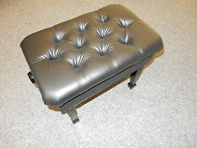 Adjustable Leather Concert Piano Stool. High Gloss Black With Button Top