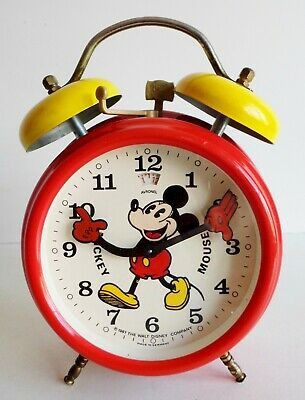 SUPERB VINTAGE 1980's MICKEY MOUSE ALARM CLOCK - MADE IN GERMANY - FULLY WORKING