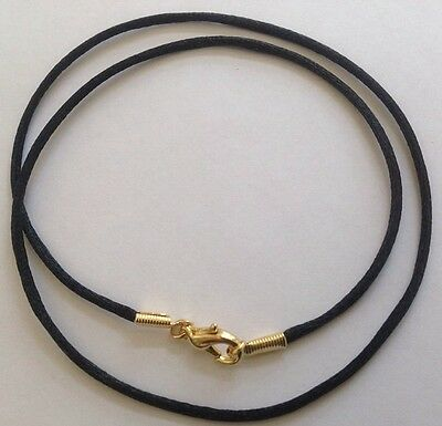 "Pendant Cord Necklace Rope Black Chain 30"" Gold plated Clasp Buy 3 get 4th Free"