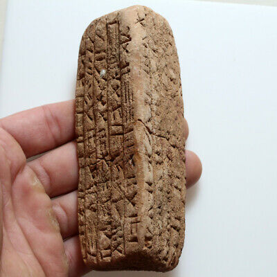 Very Rare Circa 2500-1000 Bc Near East Terracotta Triconic Tablet With Inscripti
