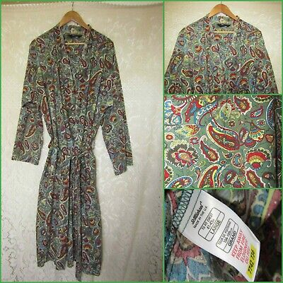 VINTAGE St Michael Paisley Dressing Gown Robe COTTON M L with belt