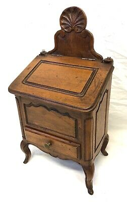 Antique French Fruitwood Salt Box Candle Box With Drawer Miniature Cabinet