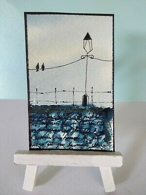 Original Watercolour Mixed Media  Painting ACEO - Looking Out To Sea