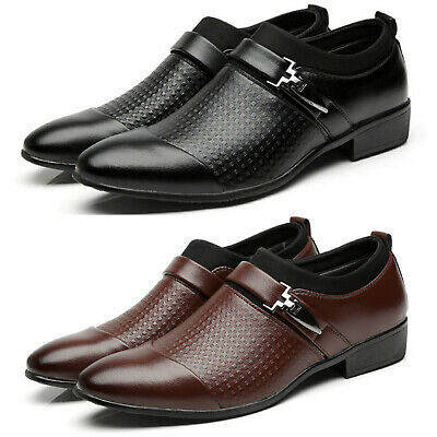 Men's Pointed Toe Formal Shoes Slip On Wedding Smart Party Dress Office Work