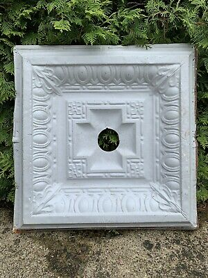 Large Deep Victorian Pressed Embossed Tin Ceiling Panel Architecture Garden