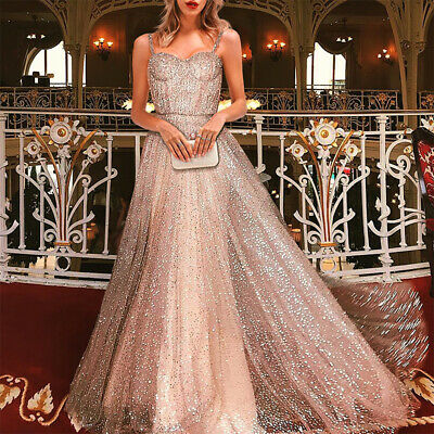 Women Bridesmaid Sequin Dress Wedding Maxi Dresses Long Party Evening Prom Gowns
