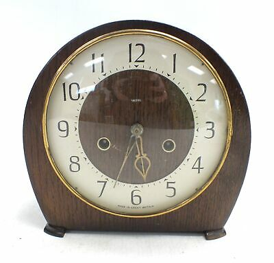 Vintage Stylish Retro SMITHS Wooden Wind Up Mantle CLOCK With Key  - B80