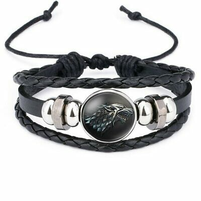Multilayer Leather Bracelets Game of Thrones House of STARK Wolf