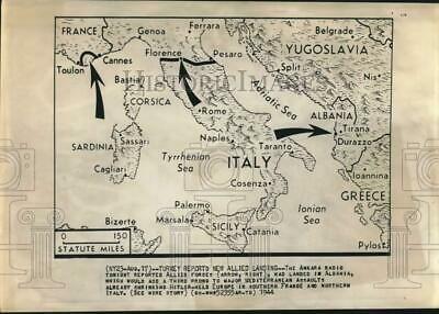 1944 Press Photo World War II map and explanation of Allied movements in Europe
