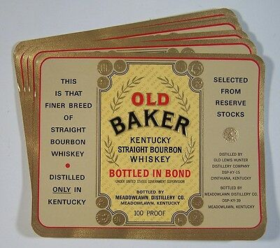 Yellow OLD BAKER Whiskey LABELS Kentucky Wholesale Lot of 100 Old Vintage