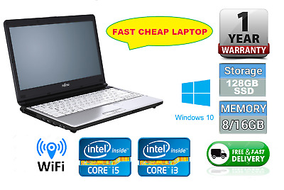 Fast Cheap Laptop Fujitsu Lifebook Core i5 16GB 128GB SSD Win10, 12 Month Warran