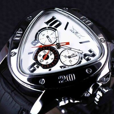 Mens Automatic Mechanical Waterproof Genuine Leather Strap Sports Wrist Watches