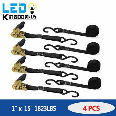 4Pcs 2inx8ft Ratchet Straps  5500lb Hook Heavy Duty Tie Downs