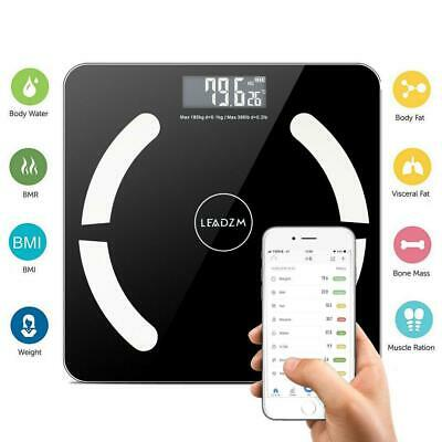 Bluetooth LCD Digital Smart Scale Body Weight Fat BMI Bone Analyzer APP +Battery