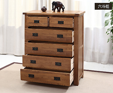 Large Chest of 2+4 Drawers Oak Sideboard Furniture Wooden Storage Cabinet Buffet