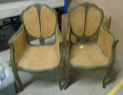 Pair Of FRENCH LOUIS XV Style Rattan / Carved Wood Green Chairs   - C72