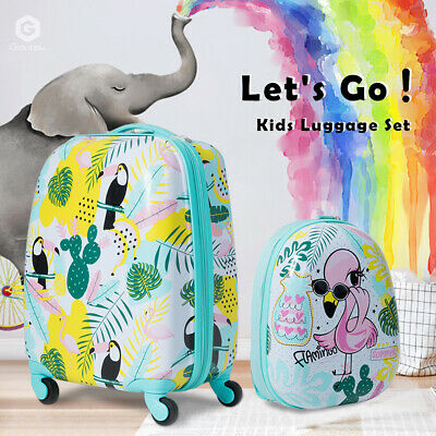 "2Pc 12""+16"" Kids Carry On Luggage Set Travel Trolley Suitcase W/Flamingo Pattern"