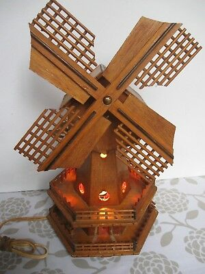 vintage retro kitsch Wooden WIND MILL music box & table lamp WORKS