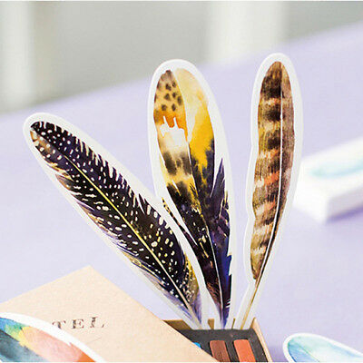 30pcs/box Colorful Bookmark Feather Bookmark Cartoon Animals Gift Pack Cute BM