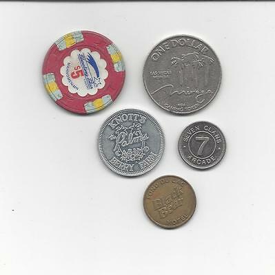 Mixed Lot 5 x Casino Chips Tokens Mirage Shooting Star Seven Clans Fond Du Lac