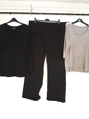 3 pc Maternity Bundle Sz 18-20 Black Combats Grey Black Tops Pumpkin Patch E-Vie