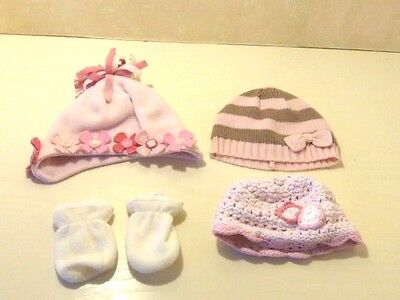 Baby GIRLS NEXT 0-3 Months 3  x Pink Hats &White Mittens Fleece Bundle Exc Cond.