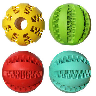 Rubber Ball Chew Treat Dispensing Holder Pet Dog Puppy Cat Play Toy Training
