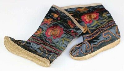Vintage tribal exotic chinese ethnic miao people's hand embroidery baby shoe