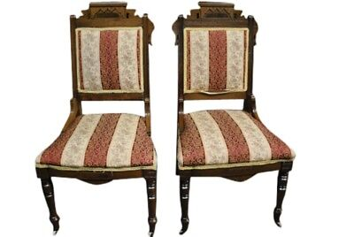 Tom Glavine's Pair of Antique Eastlake Victorian Side Chairs, Walnut, Ca 1880's