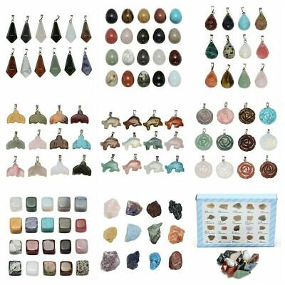 Natural Smooth Mix Chakra Gemstone Pendant For Necklace Ornaments Set Box Gift