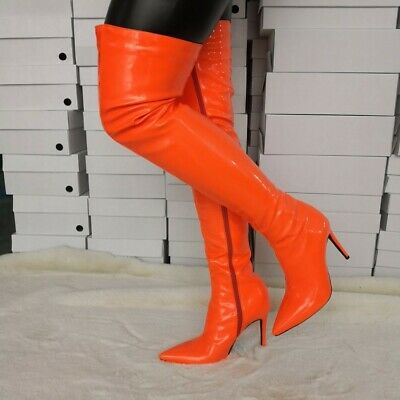 Ladies Thigh High Boots Pointed Toe Stilettos Heels Boots Plus Size Shoes Clubs