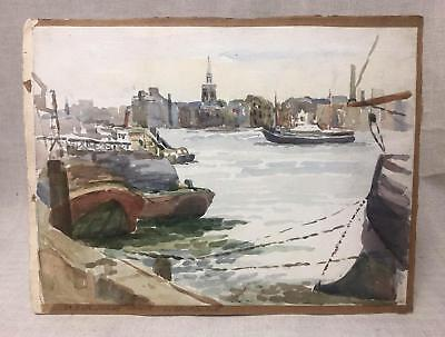 London Thames Watercolour of St. Katherines Wharf 1950s Docks City- Double Sided