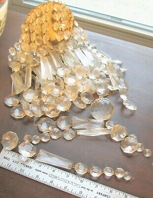 "Vtg. Crystal Glass Chandelier Prisms #6 Lot  ~38 9"" Strands & Large Ball~ 300 +"