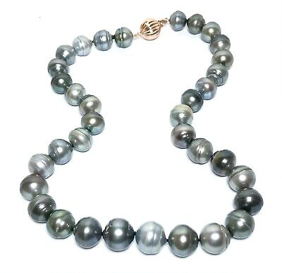 """Luxury 11-13.8mm Semi Round Tahitian South Sea Multi Colors Pearls 18"""" Necklace"""