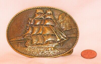 Vintage Solid Copper With Clipper Ship Belt Buckle; By Heritage Mint 1976