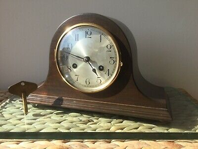 German 8 Day Striking Mantel Clock, Fully Serviced With Key, Case Restored