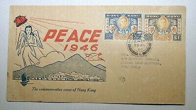 """Hong Kong """"Peace 1946"""" FDC Sent to Special Branch Police Headquarters Hong Kong"""